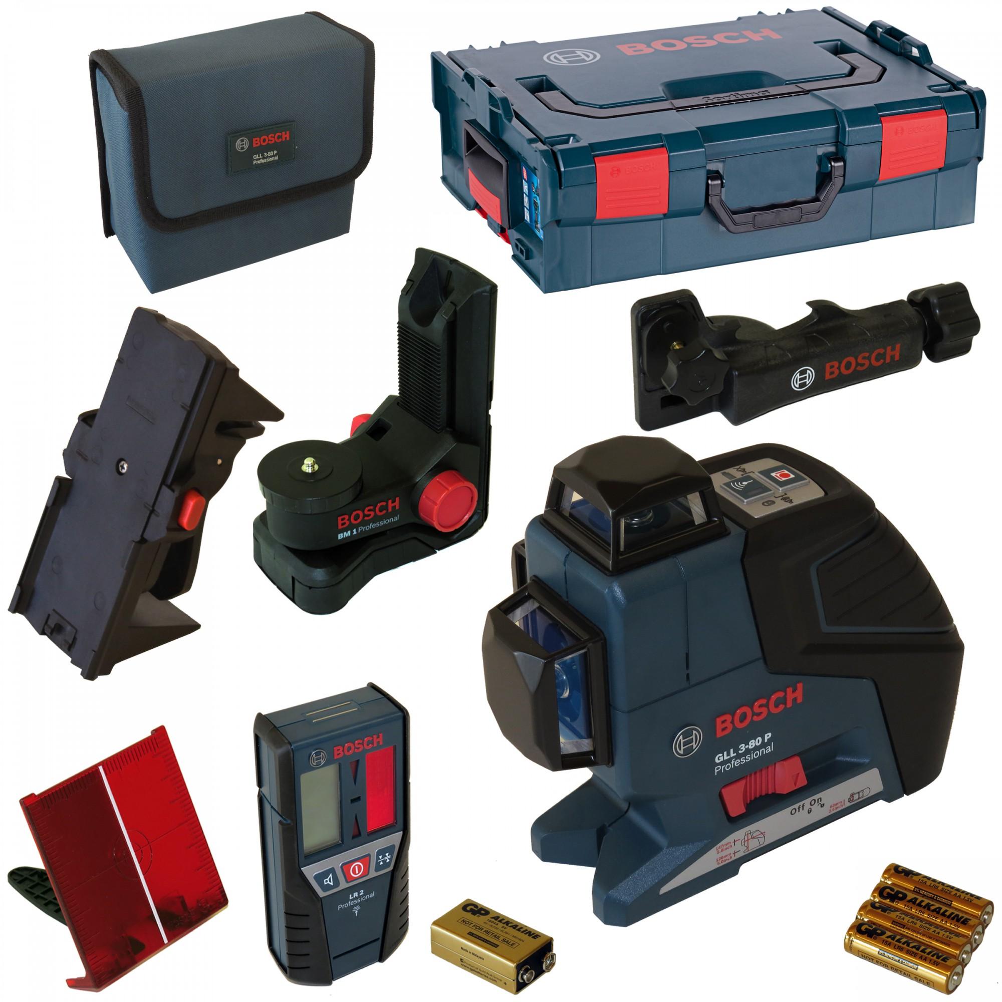 7f6483d11e616d GLL 3-80 P křížový laser + LR 2 laserový přijímač + BM 1 držák + 1608M0080N  svorka k držáku + kufr L-Boxx, 060106330A Bosch